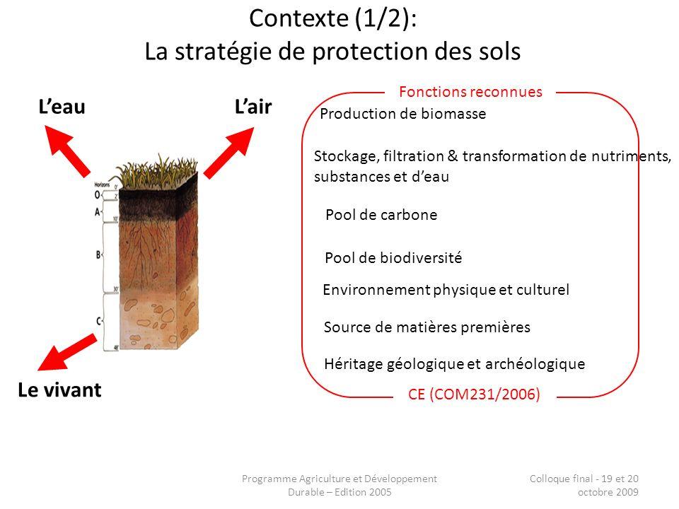 Programme Agriculture et Développement Durable – Edition 2005 Colloque final - 19 et 20 octobre 2009 Contexte (1/2): La stratégie de protection des so