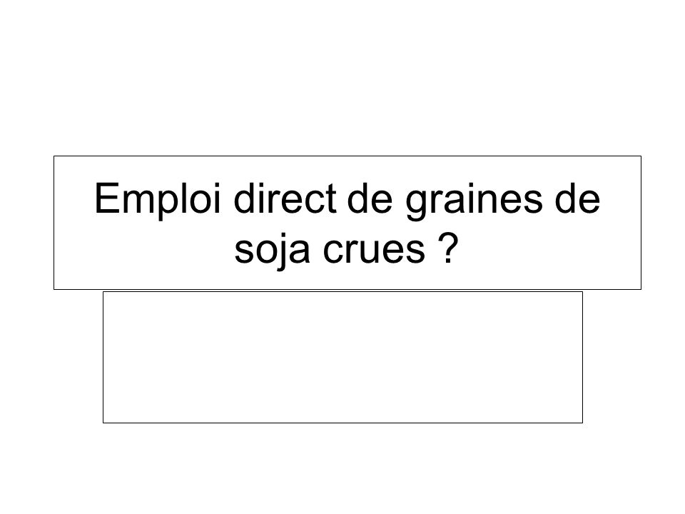 Emploi direct de graines de soja crues ?