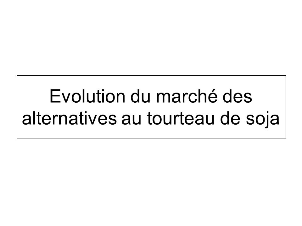Evolution du marché des alternatives au tourteau de soja