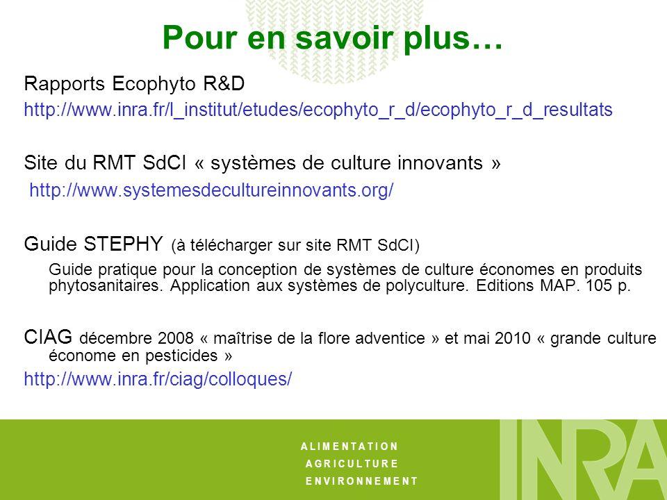 A L I M E N T A T I O N A G R I C U L T U R E E N V I R O N N E M E N T Pour en savoir plus… Rapports Ecophyto R&D http://www.inra.fr/l_institut/etudes/ecophyto_r_d/ecophyto_r_d_resultats Site du RMT SdCI « systèmes de culture innovants » http://www.systemesdecultureinnovants.org/ Guide STEPHY (à télécharger sur site RMT SdCI) Guide pratique pour la conception de systèmes de culture économes en produits phytosanitaires.