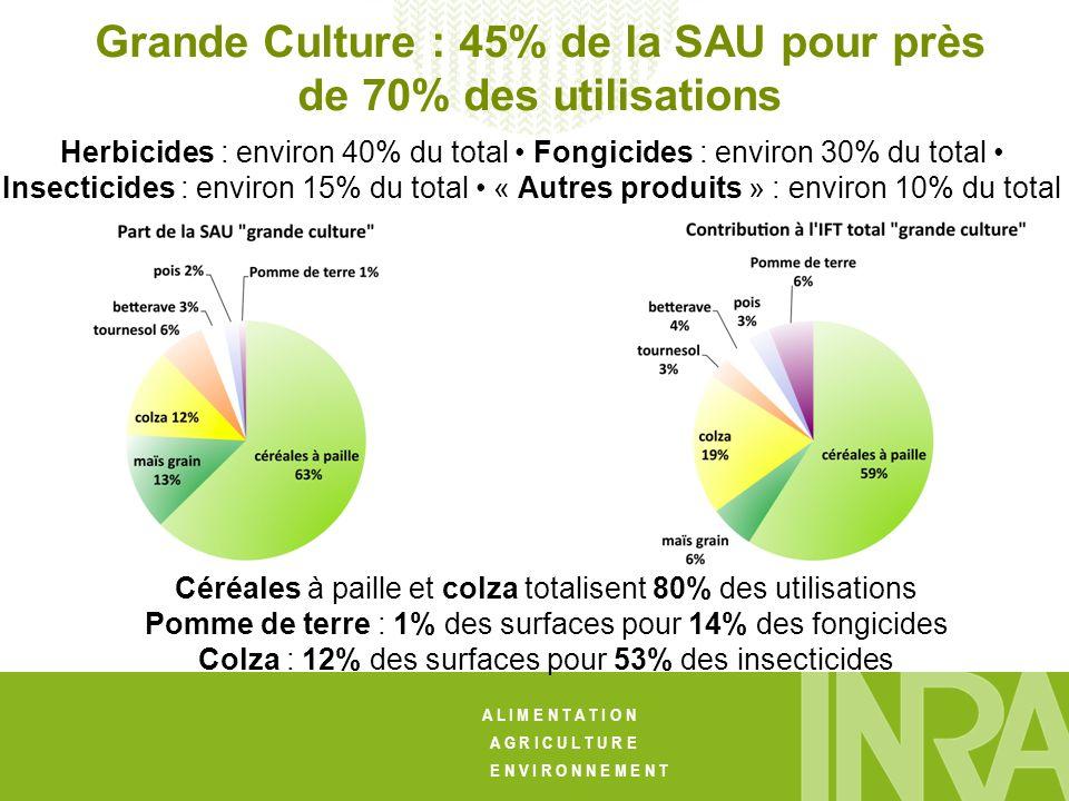 A L I M E N T A T I O N A G R I C U L T U R E E N V I R O N N E M E N T Herbicides : environ 40% du total Fongicides : environ 30% du total Insecticides : environ 15% du total « Autres produits » : environ 10% du total Grande Culture : 45% de la SAU pour près de 70% des utilisations Céréales à paille et colza totalisent 80% des utilisations Pomme de terre : 1% des surfaces pour 14% des fongicides Colza : 12% des surfaces pour 53% des insecticides