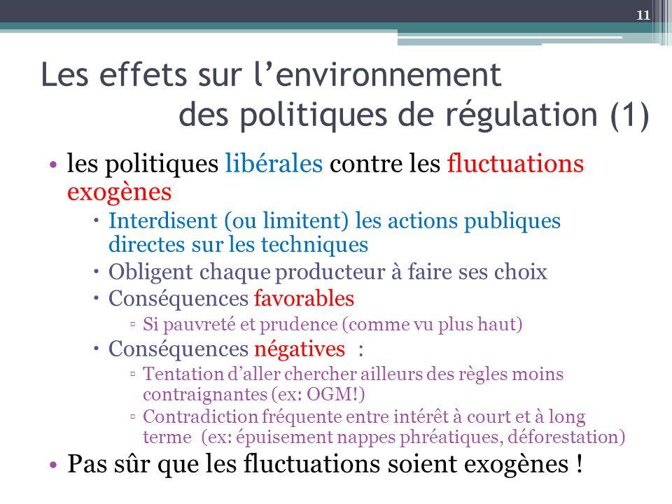 Les effets sur lenvironnement des politiques de régulation (1) les politiques libérales contre les fluctuations exogènes Interdisent (ou limitent) les