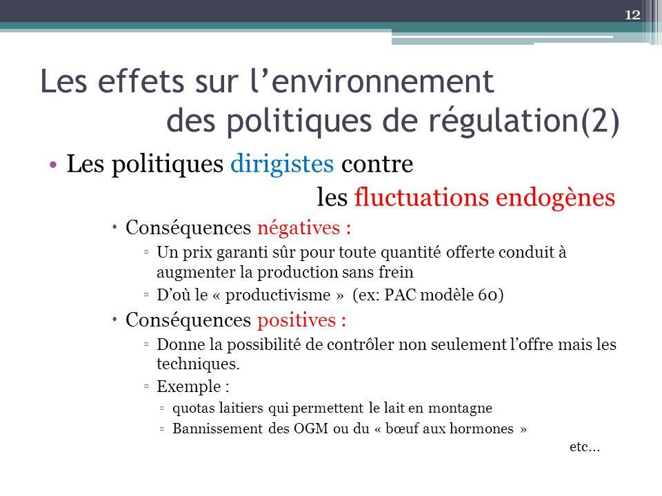 Les effets sur lenvironnement des politiques de régulation(2) Les politiques dirigistes contre les fluctuations endogènes Conséquences négatives : Un