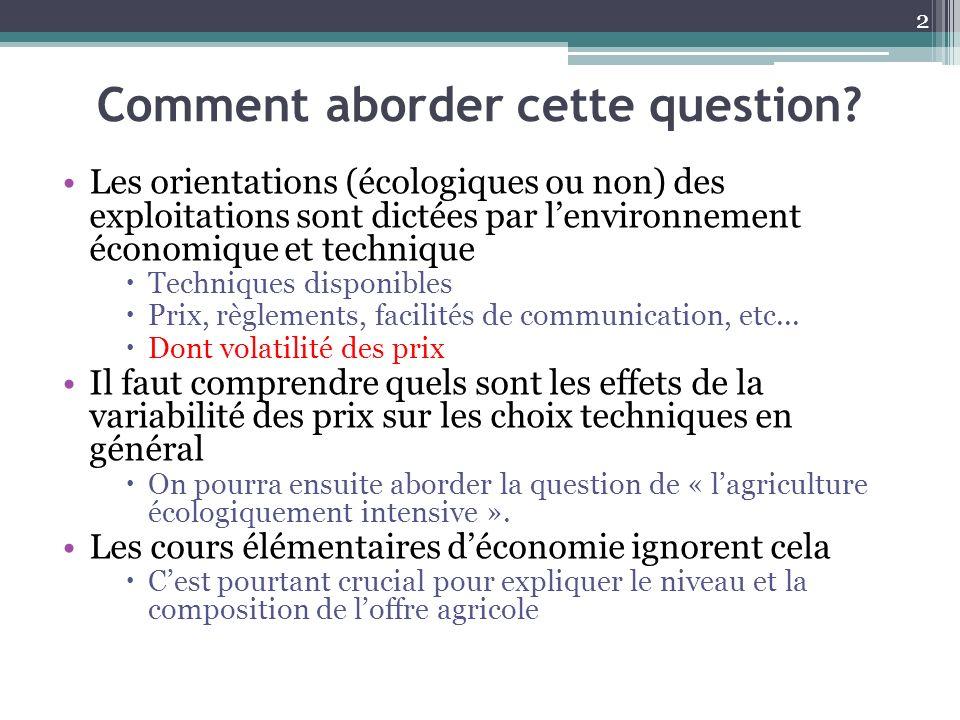 Comment aborder cette question? Les orientations (écologiques ou non) des exploitations sont dictées par lenvironnement économique et technique Techni