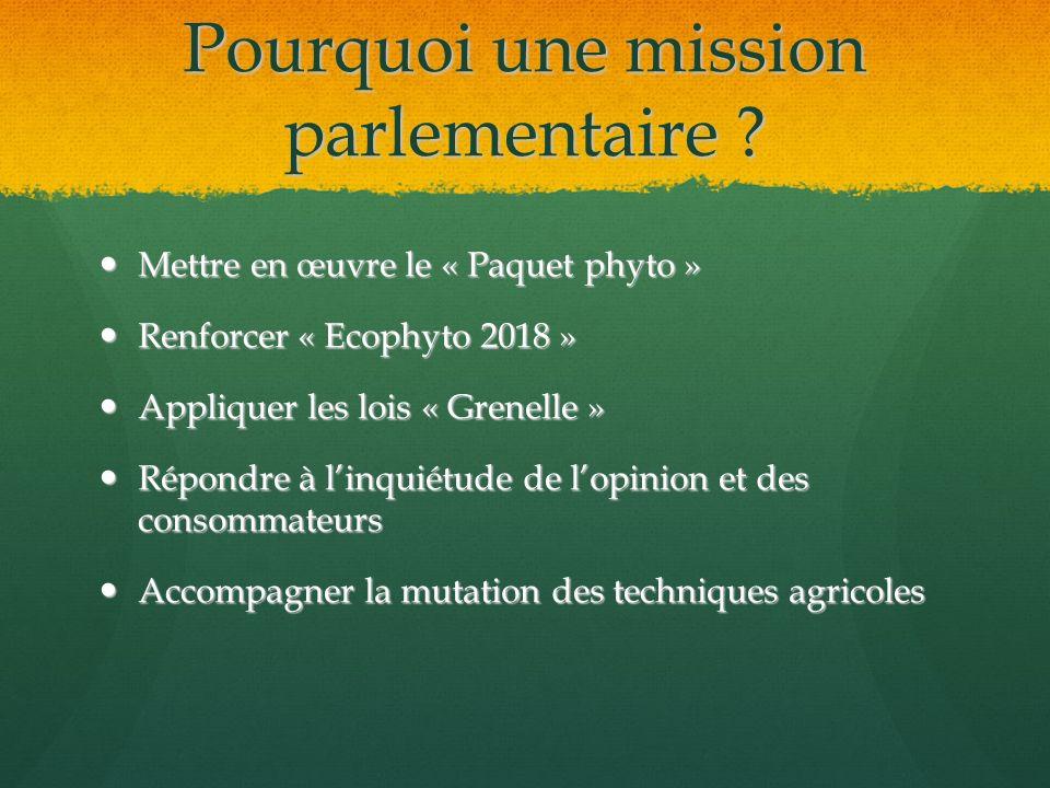 Pourquoi une mission parlementaire ? Mettre en œuvre le « Paquet phyto » Mettre en œuvre le « Paquet phyto » Renforcer « Ecophyto 2018 » Renforcer « E