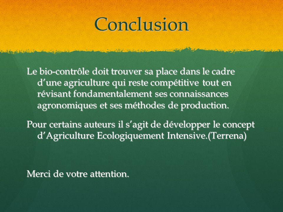 Conclusion Le bio-contrôle doit trouver sa place dans le cadre dune agriculture qui reste compétitive tout en révisant fondamentalement ses connaissan