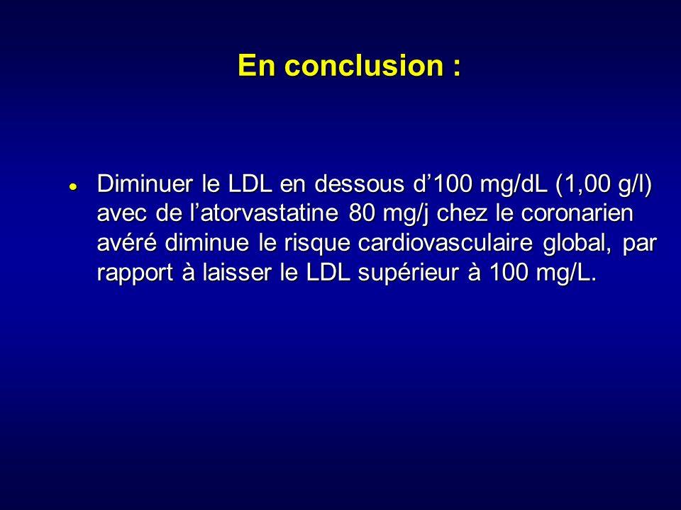 En conclusion : Diminuer le LDL en dessous d100 mg/dL (1,00 g/l) avec de latorvastatine 80 mg/j chez le coronarien avéré diminue le risque cardiovascu