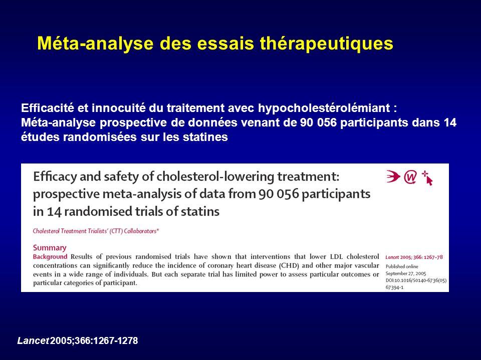Méta-analyse des essais thérapeutiques Efficacité et innocuité du traitement avec hypocholestérolémiant : Méta-analyse prospective de données venant d