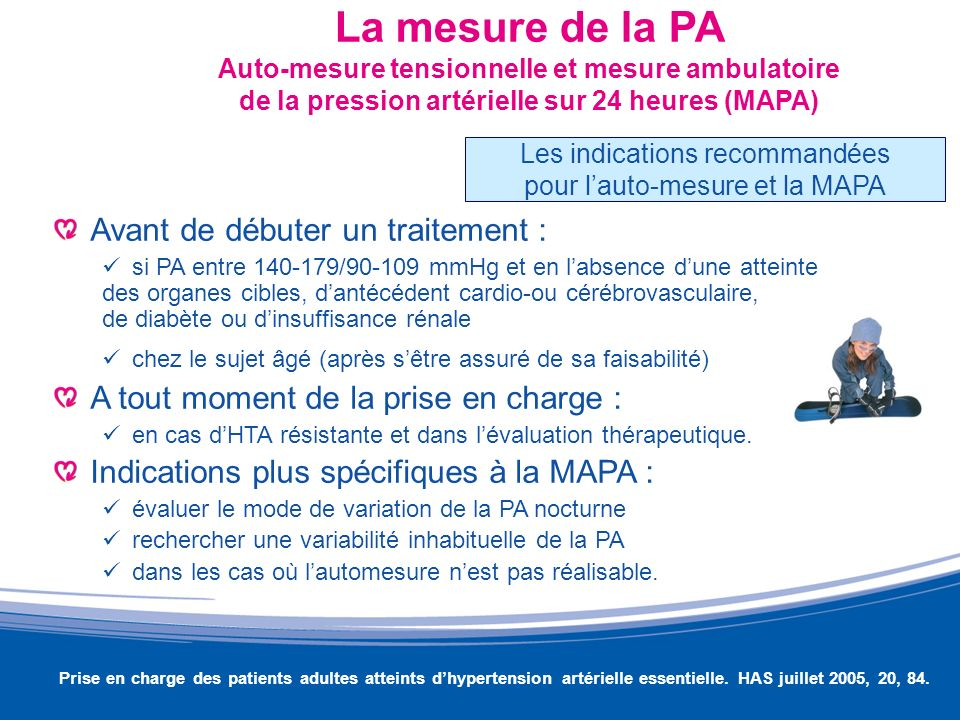 La mesure de la PA Auto-mesure tensionnelle et mesure ambulatoire de la pression artérielle sur 24 heures (MAPA) Avant de débuter un traitement : si P