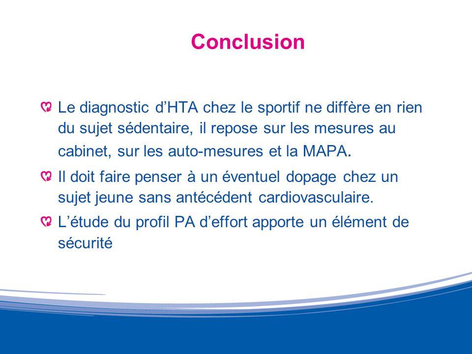Conclusion Le diagnostic dHTA chez le sportif ne diffère en rien du sujet sédentaire, il repose sur les mesures au cabinet, sur les auto-mesures et la