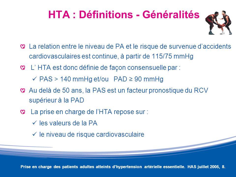 HTA : Définitions - Généralités La relation entre le niveau de PA et le risque de survenue daccidents cardiovasculaires est continue, à partir de 115/