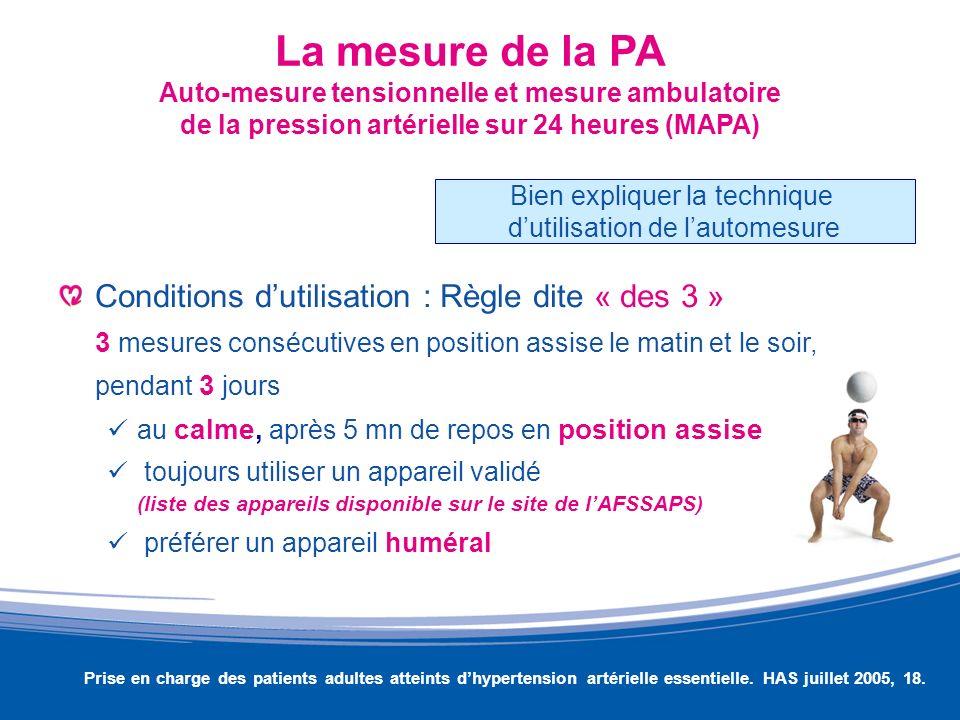 La mesure de la PA Auto-mesure tensionnelle et mesure ambulatoire de la pression artérielle sur 24 heures (MAPA) Conditions dutilisation : Règle dite