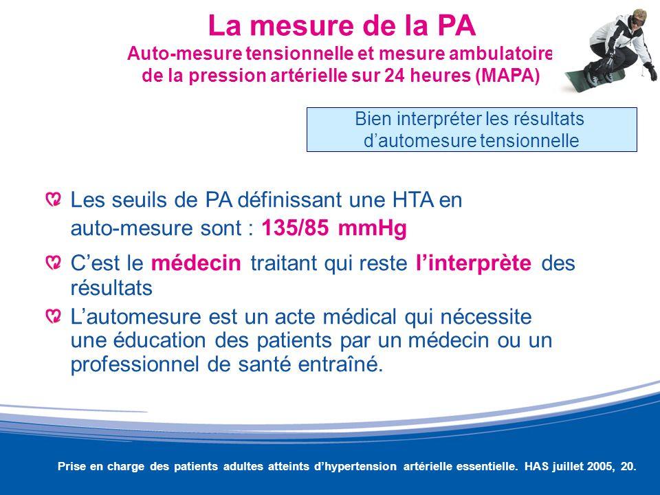 La mesure de la PA Auto-mesure tensionnelle et mesure ambulatoire de la pression artérielle sur 24 heures (MAPA) Les seuils de PA définissant une HTA