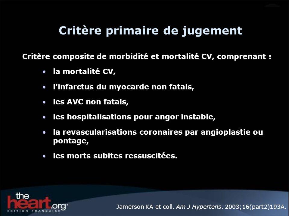 Critère primaire de jugement Critère composite de morbidité et mortalité CV, comprenant : la mortalité CV, linfarctus du myocarde non fatals, les AVC