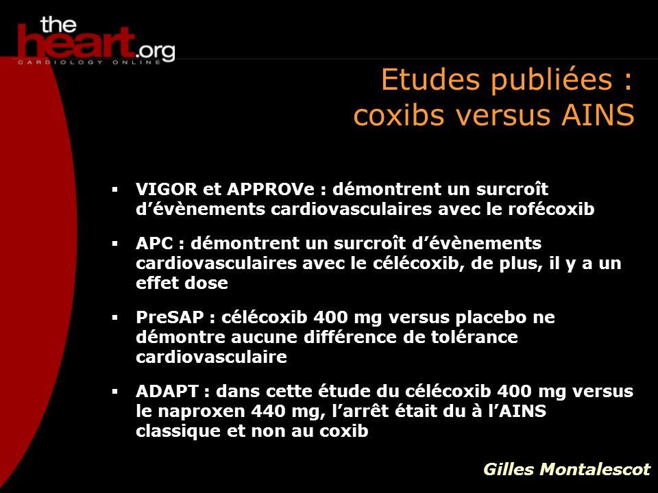 Etudes publiées : coxibs versus AINS VIGOR et APPROVe : démontrent un surcroît dévènements cardiovasculaires avec le rofécoxib APC : démontrent un sur