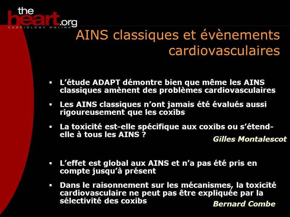 AINS classiques et évènements cardiovasculaires Létude ADAPT démontre bien que même les AINS classiques amènent des problèmes cardiovasculaires Les AI