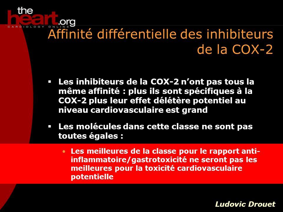 Affinité différentielle des inhibiteurs de la COX-2 Les inhibiteurs de la COX-2 nont pas tous la même affinité : plus ils sont spécifiques à la COX-2