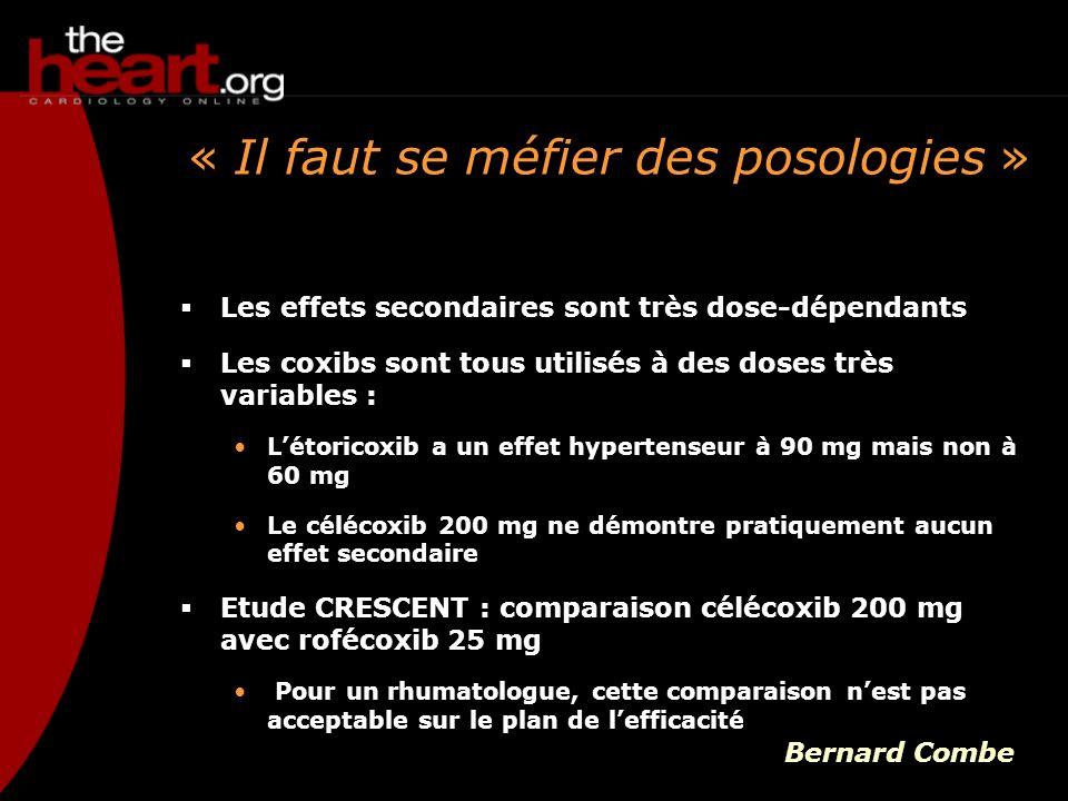 « Il faut se méfier des posologies » Les effets secondaires sont très dose-dépendants Les coxibs sont tous utilisés à des doses très variables : Létor