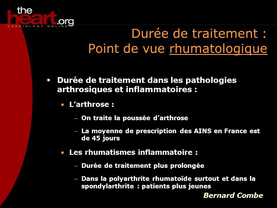 Durée de traitement : Point de vue rhumatologique Durée de traitement dans les pathologies arthrosiques et inflammatoires : Larthrose : On traite la p