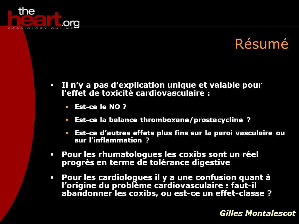 Résumé Il ny a pas dexplication unique et valable pour leffet de toxicité cardiovasculaire : Est-ce le NO ? Est-ce la balance thromboxane/prostacyclin