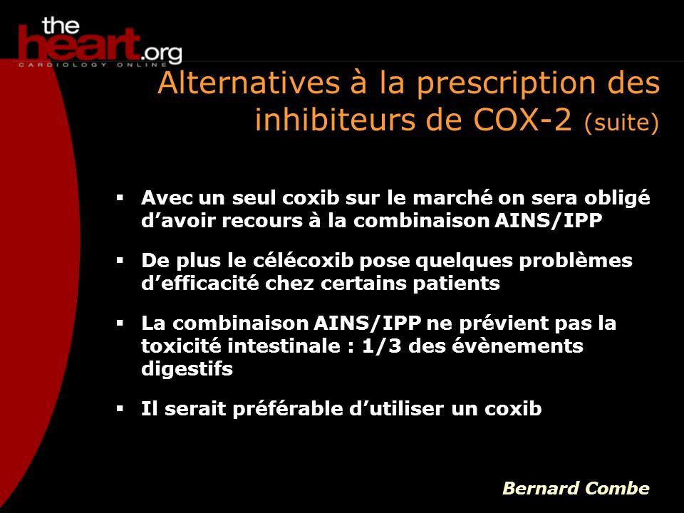 Avec un seul coxib sur le marché on sera obligé davoir recours à la combinaison AINS/IPP De plus le célécoxib pose quelques problèmes defficacité chez