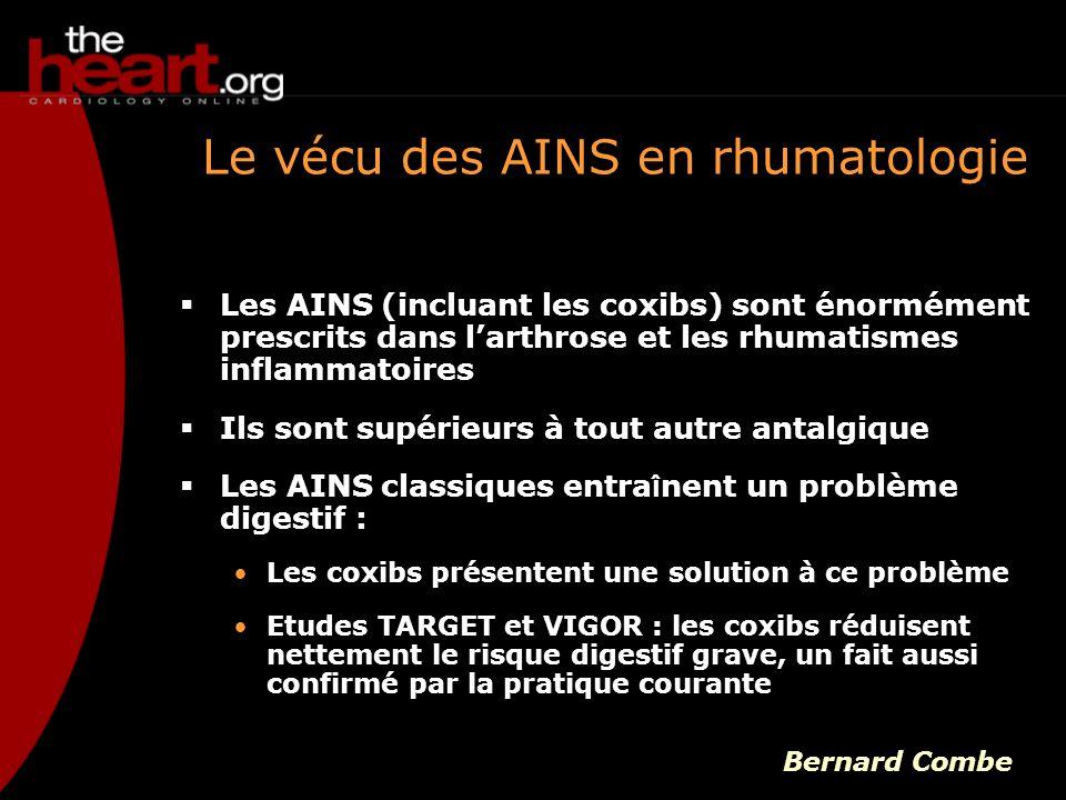 Le vécu des AINS en rhumatologie Les AINS (incluant les coxibs) sont énormément prescrits dans larthrose et les rhumatismes inflammatoires Ils sont su