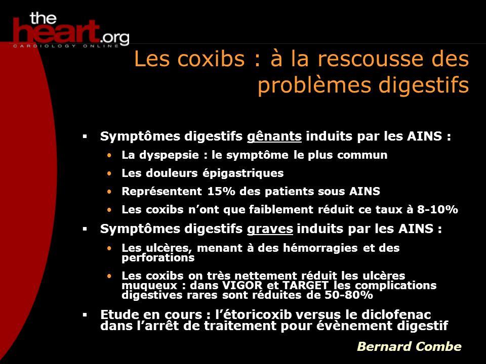 La durée de vie des inhibiteurs La plupart des AINS classiques ont une affinité anti-COX-1 relativement faible Les molécules libèrent donc la COX-1 progressivement Mène à un effet rebond qui pourrait potentiellement entraîner un effet toxique Effet rebond de laspirine : à larrêt du traitement à laspirine ou quand leffet aspirine disparaît, le risque thrombotique augmente Ludovic Drouet « Il faut tenir compte à la fois des affinités différentielles anti- COX-1/anti-COX-2 et deuxièmement de la durée de vie, ce qui fait un tableau assez complexe »