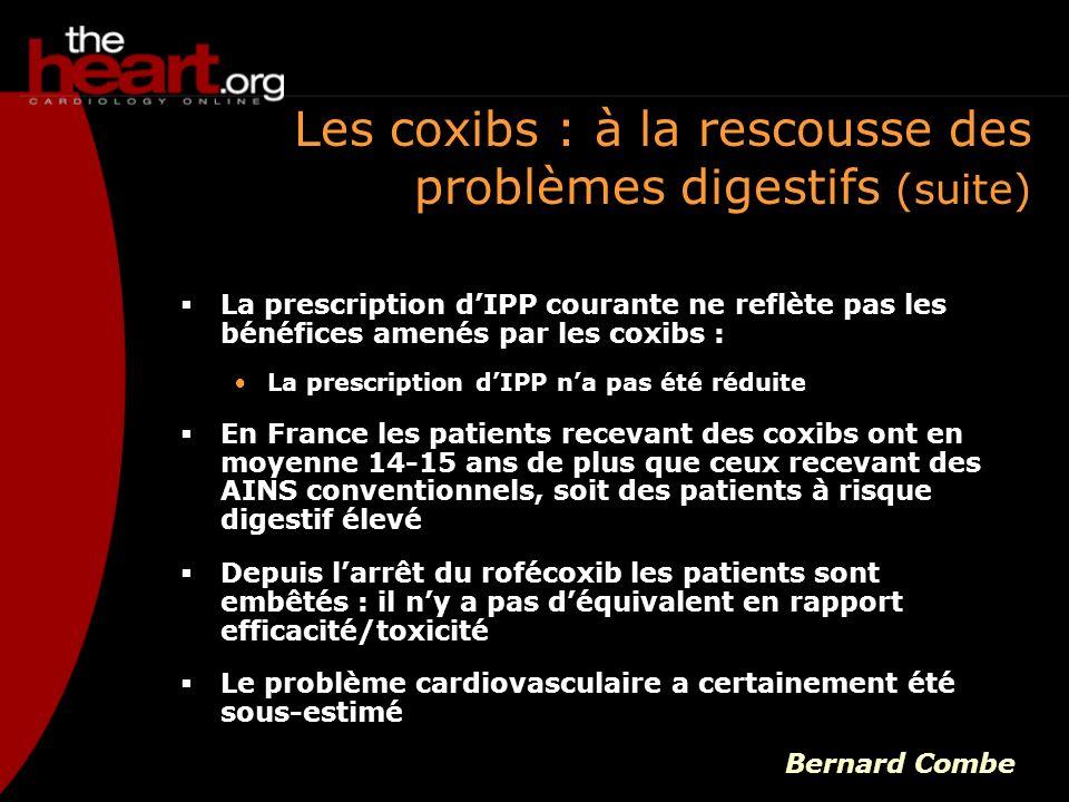 Les coxibs : à la rescousse des problèmes digestifs (suite) La prescription dIPP courante ne reflète pas les bénéfices amenés par les coxibs : La pres