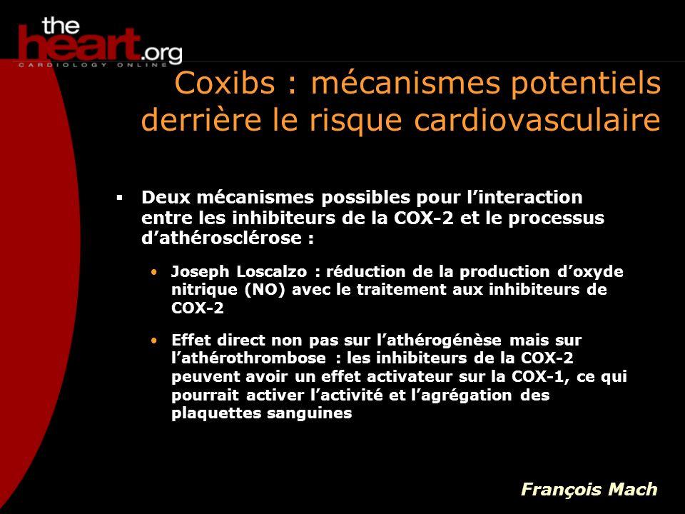 Etudes publiées : coxibs versus AINS VIGOR et APPROVe : démontrent un surcroît dévènements cardiovasculaires avec le rofécoxib APC : démontrent un surcroît dévènements cardiovasculaires avec le célécoxib, de plus, il y a un effet dose PreSAP : célécoxib 400 mg versus placebo ne démontre aucune différence de tolérance cardiovasculaire ADAPT : dans cette étude du célécoxib 400 mg versus le naproxen 440 mg, larrêt était du à lAINS classique et non au coxib Gilles Montalescot