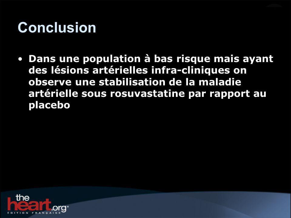 Conclusion Dans une population à bas risque mais ayant des lésions artérielles infra-cliniques on observe une stabilisation de la maladie artérielle sous rosuvastatine par rapport au placebo