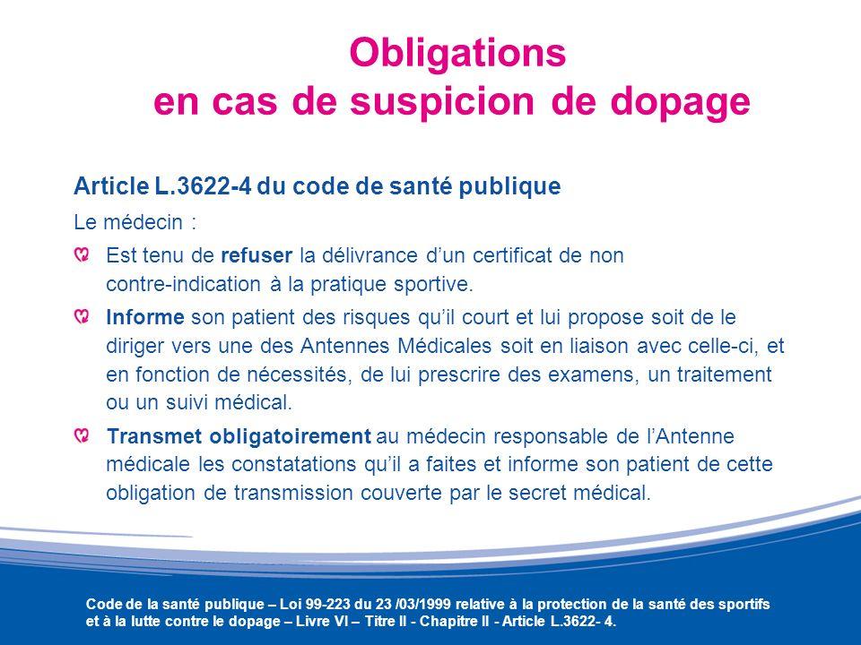 Obligations en cas de suspicion de dopage Article L.3622-4 du code de santé publique Le médecin : Est tenu de refuser la délivrance dun certificat de