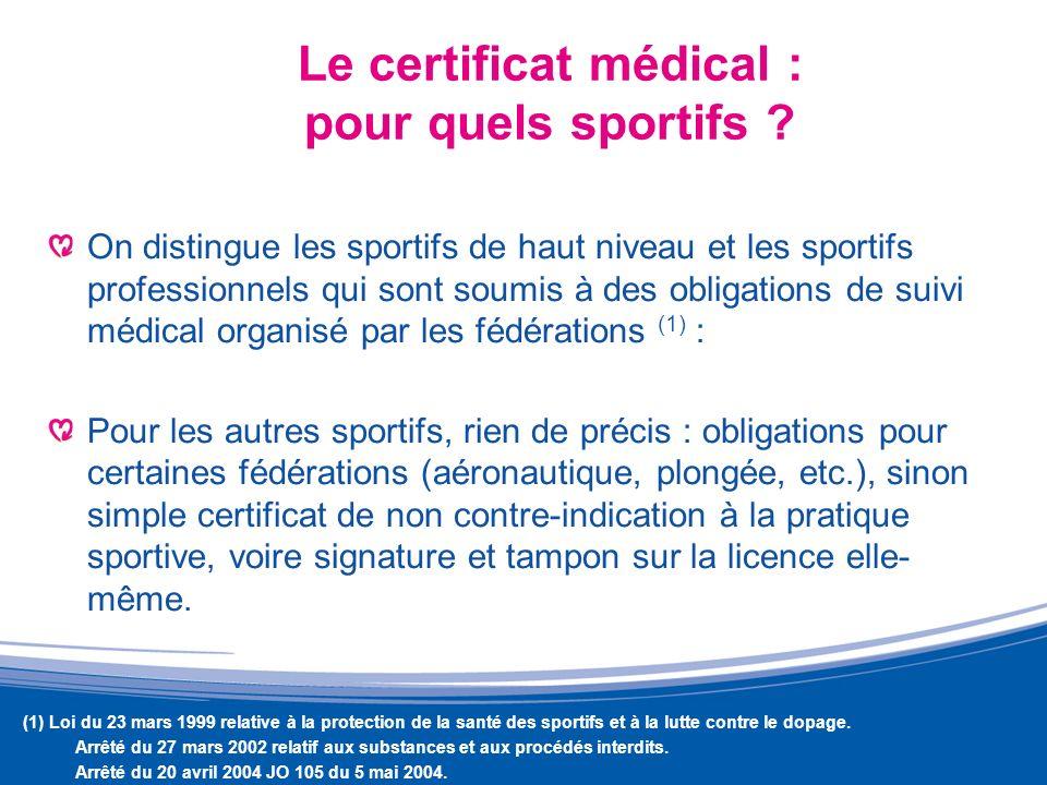 Le certificat médical : pour quels sportifs ? On distingue les sportifs de haut niveau et les sportifs professionnels qui sont soumis à des obligation