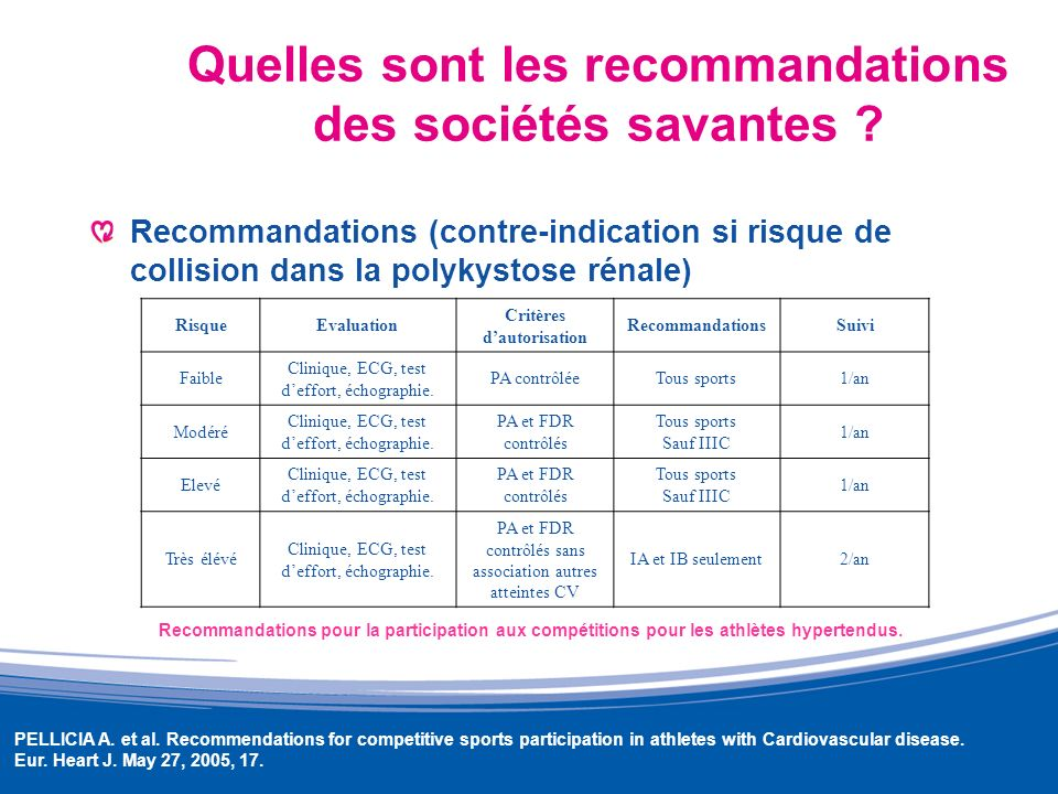 Quelles sont les recommandations des sociétés savantes ? Recommandations (contre-indication si risque de collision dans la polykystose rénale) PELLICI