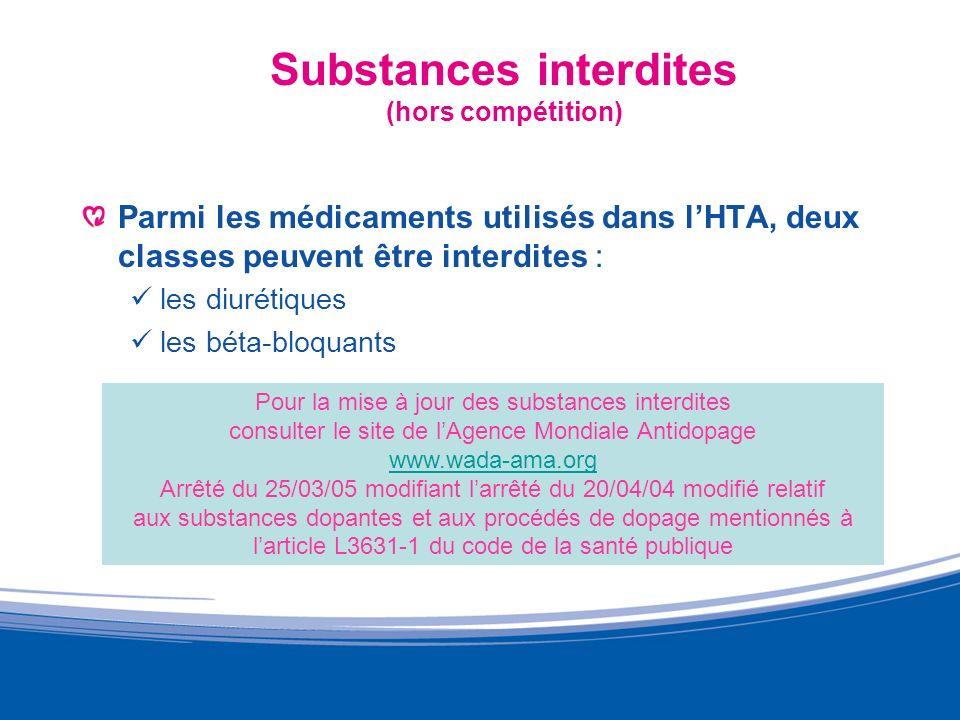Substances interdites (hors compétition) Parmi les médicaments utilisés dans lHTA, deux classes peuvent être interdites : les diurétiques les béta-blo