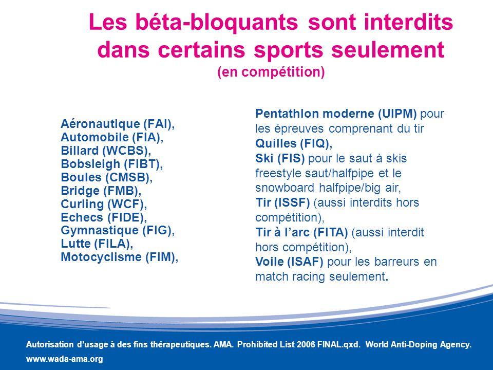 Les béta-bloquants sont interdits dans certains sports seulement (en compétition) Aéronautique (FAI), Automobile (FIA), Billard (WCBS), Bobsleigh (FIB