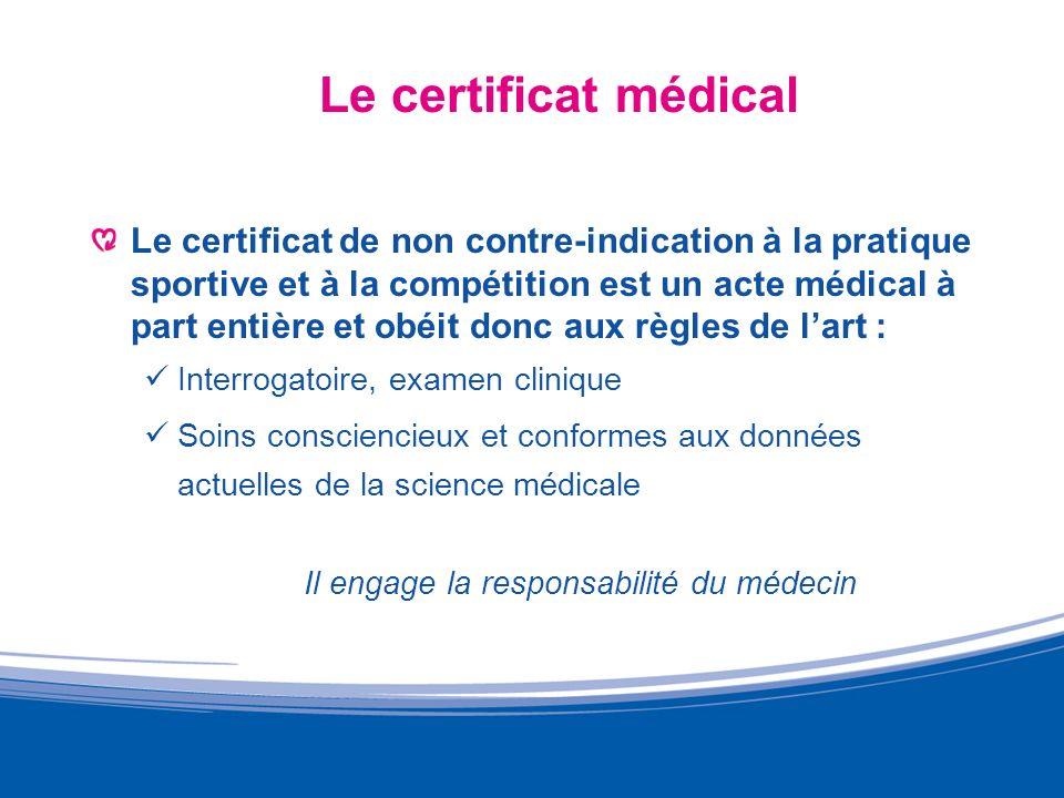 Le certificat médical Le certificat de non contre-indication à la pratique sportive et à la compétition est un acte médical à part entière et obéit do