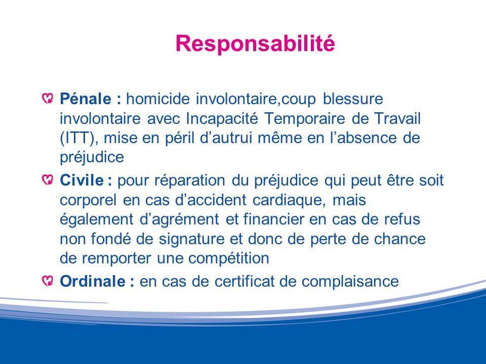 Responsabilité Pénale : homicide involontaire,coup blessure involontaire avec Incapacité Temporaire de Travail (ITT), mise en péril dautrui même en la