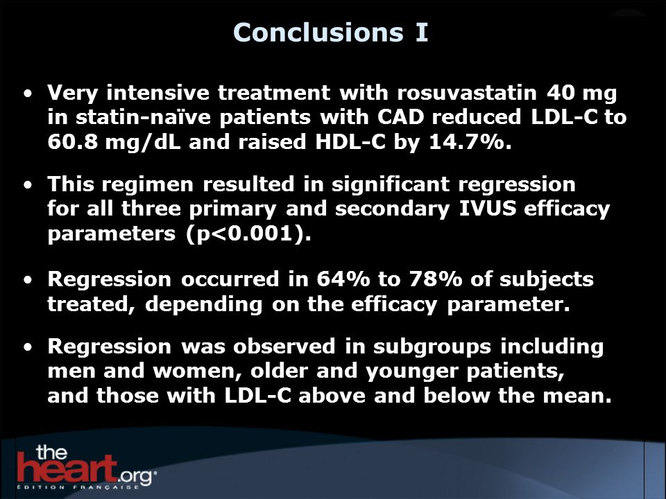 Conclusions I Very intensive treatment with rosuvastatin 40 mg in statin-naïve patients with CAD reduced LDL-C to 60.8 mg/dL and raised HDL-C by 14.7%
