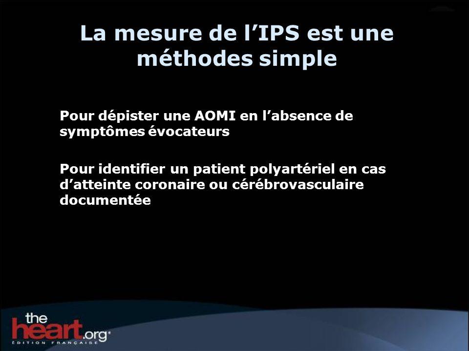 La mesure de lIPS est une méthodes simple Pour dépister une AOMI en labsence de symptômes évocateurs Pour identifier un patient polyartériel en cas da