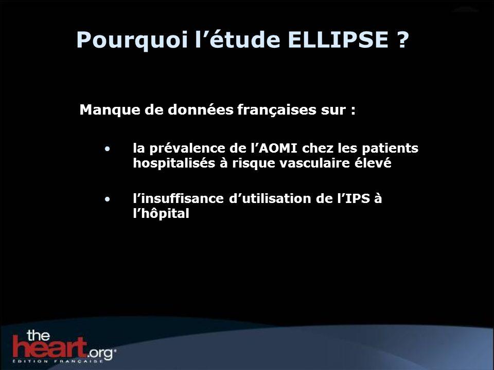 Pourquoi létude ELLIPSE ? Manque de données françaises sur : la prévalence de lAOMI chez les patients hospitalisés à risque vasculaire élevé linsuffis