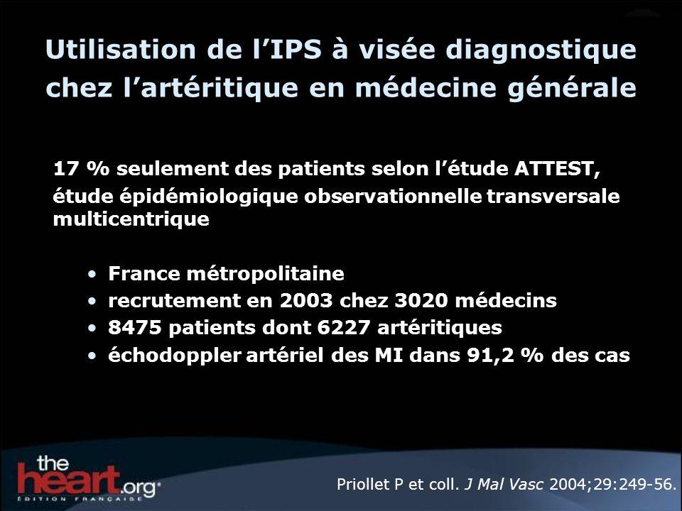 Utilisation de lIPS à visée diagnostique chez lartéritique en médecine générale 17 % seulement des patients selon létude ATTEST, étude épidémiologique
