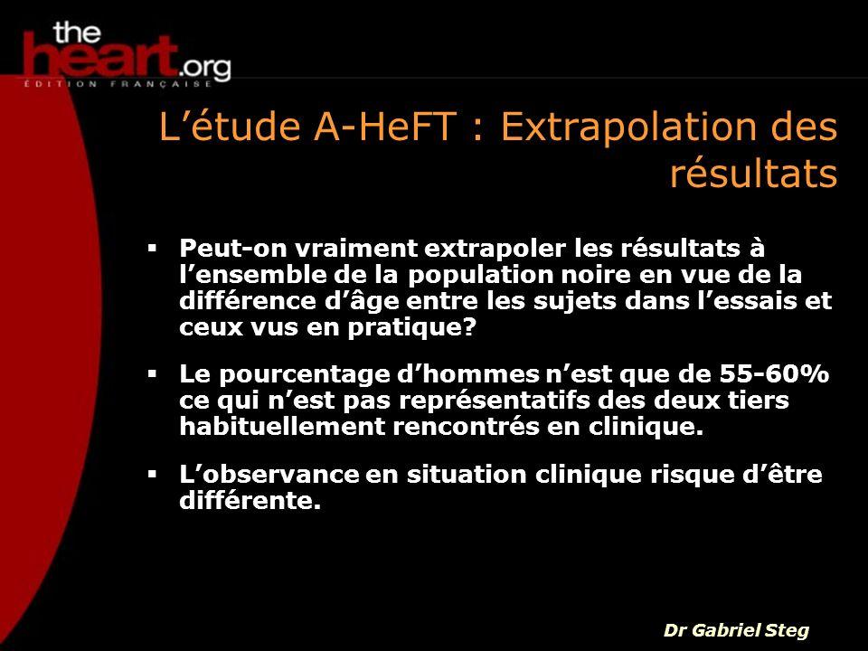 Létude A-HeFT : Extrapolation des résultats Peut-on vraiment extrapoler les résultats à lensemble de la population noire en vue de la différence dâge