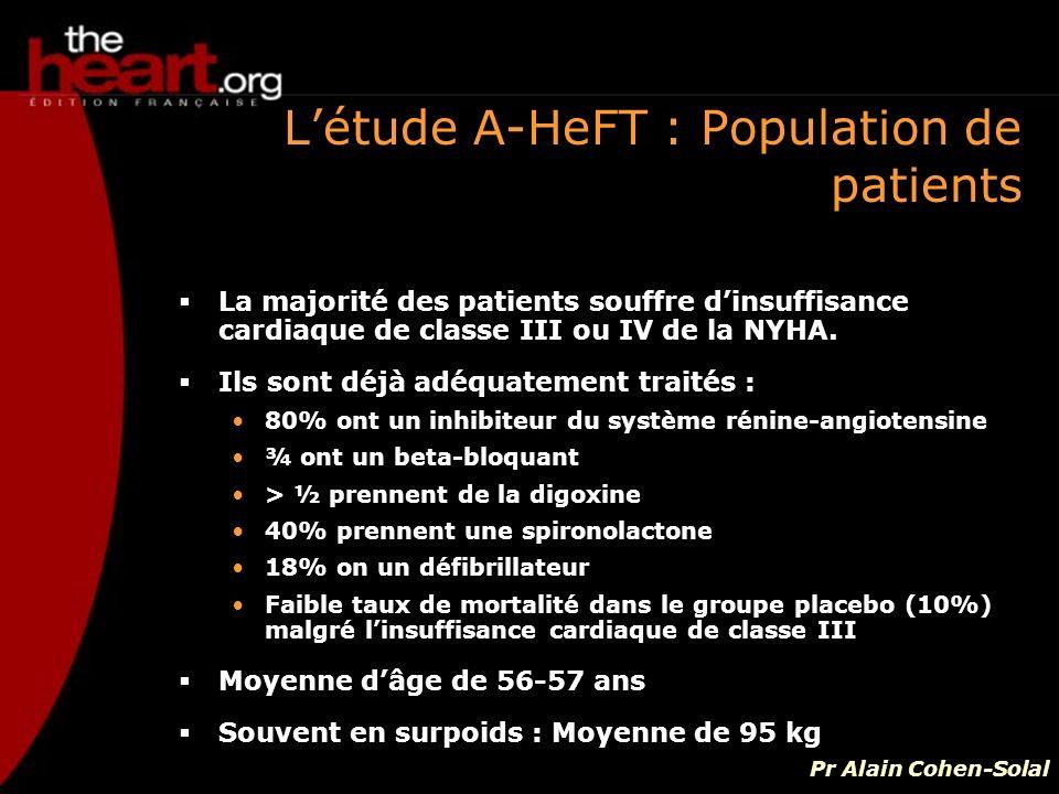 Létude A-HeFT : Population de patients La majorité des patients souffre dinsuffisance cardiaque de classe III ou IV de la NYHA. Ils sont déjà adéquate