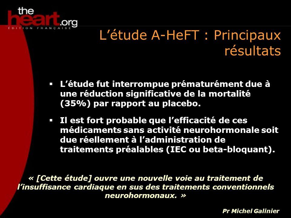 Létude A-HeFT : Principaux résultats Létude fut interrompue prématurément due à une réduction significative de la mortalité (35%) par rapport au place