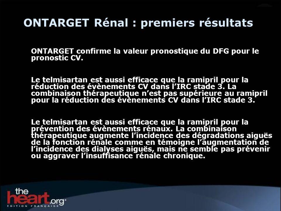 ONTARGET Rénal : premiers résultats ONTARGET confirme la valeur pronostique du DFG pour le pronostic CV.