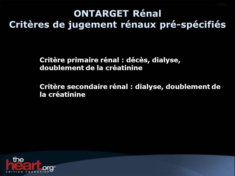 ONTARGET Rénal Critères de jugement rénaux pré-spécifiés Critère primaire rénal : décès, dialyse, doublement de la créatinine Critère secondaire rénal : dialyse, doublement de la créatinine