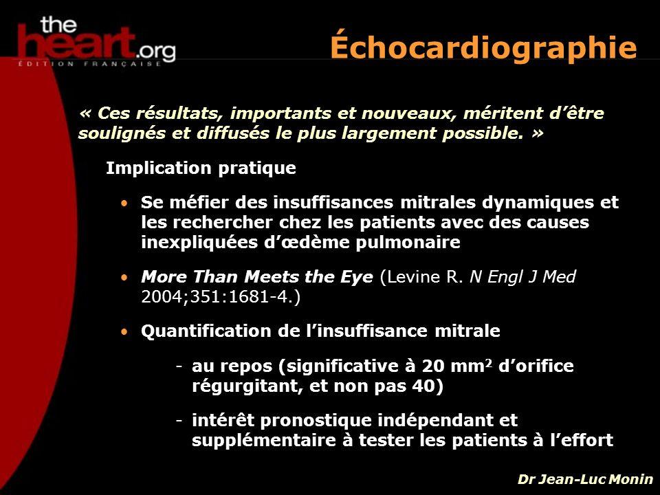 Implication pratique Se méfier des insuffisances mitrales dynamiques et les rechercher chez les patients avec des causes inexpliquées dœdème pulmonair