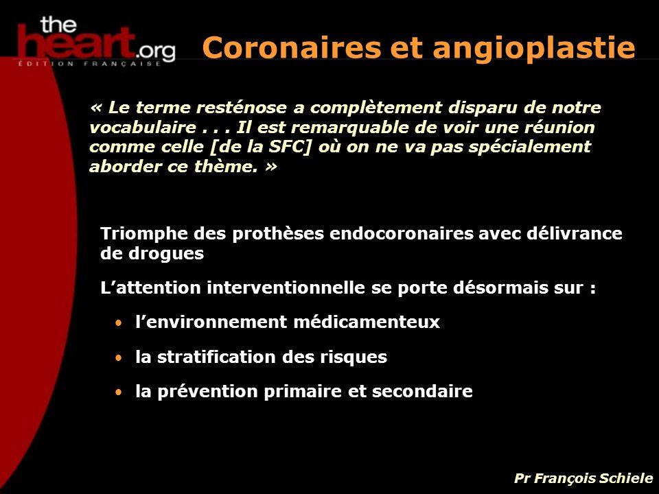 Triomphe des prothèses endocoronaires avec délivrance de drogues Lattention interventionnelle se porte désormais sur : lenvironnement médicamenteux la