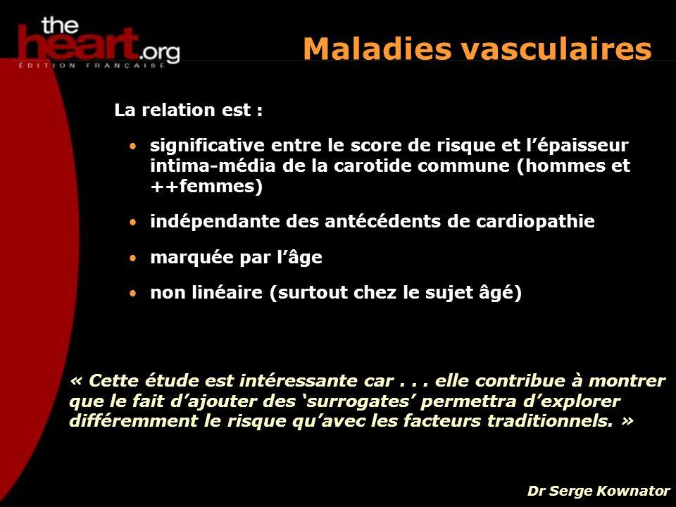 Maladies vasculaires La relation est : significative entre le score de risque et lépaisseur intima-média de la carotide commune (hommes et ++femmes) i