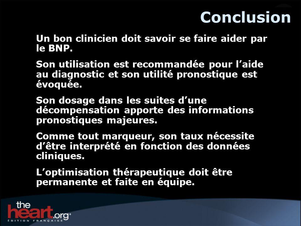 Conclusion Un bon clinicien doit savoir se faire aider par le BNP. Son utilisation est recommandée pour laide au diagnostic et son utilité pronostique